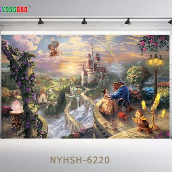 SHENGYONGBAO Art Cloth Digital Printed Backdrops for Photography  Beauty and the beast theme Photo Studio Background NYHSH-6220