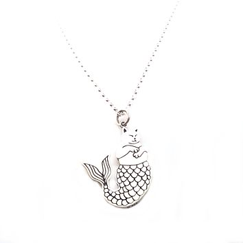 Purr-maid Charm Necklace - Sterling Silver Jewelry