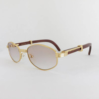 Cartier Style Wood Sunglasses, Vintage Frames, Gold and Wood Glasses, Woodline Eyewear, Gold Plated Frame, Gradient Brown Lenses