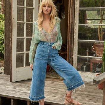 Free People Dawn To Dusk Cropped Wide Leg
