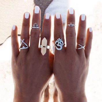 Boho Chic Set of Antiqued Silver Rings with  Natural Rose Quartz Crystal