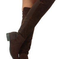 Brown Faux Suede Two Toned Knee High Boots
