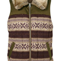 Jacquard Fur Sleeveless Jacket - Festival Shop  - Collections