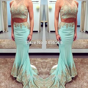 Fashionable 2 Pieces Prom Dresses Gold Appliques Long Mermaid Prom Gowns 2017 Elegant Formal Dress 013015W