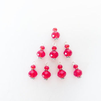 Red Crystal Charms - 8 Pcs. Jewelry Charms - Handmade Beaded Charms - DIY Jewelry Parts - Crystal Jewelry Supplies - Jewelry Making - Gifts