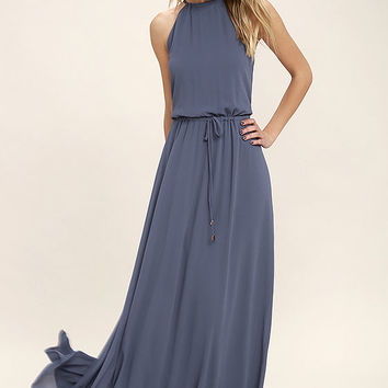 Be Mellow Denim Blue Maxi Dress
