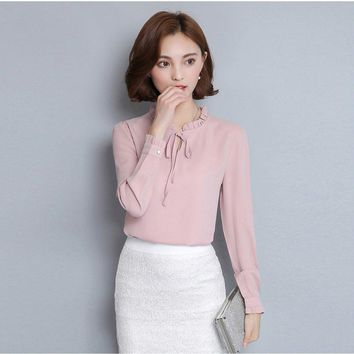 New Women Shirts Long Sleeve Stand Collar Bow Blouses Elegant Ladies Chiffon Blouse Tops Fashion Office Work Wear