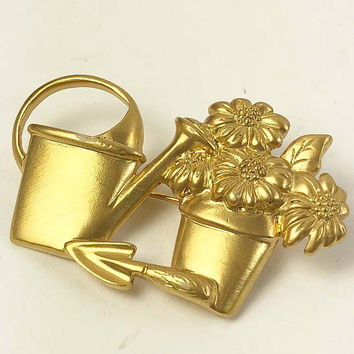 AVON Gardener Brooch - Flower Pot Watering Can Brooch Gold Tone Matter Finish Vintage - Designer Signed