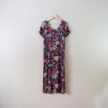 90s Black Floral Maxi Dress - Floral Fall Dress Gauze Dress Soft Grunge 90s Maxi Dress Boho Grunge Short Sleeve Dress Large Dress