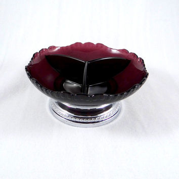 Vintage Farber Brothers Amethyst Glass and Chrome Candy Dish