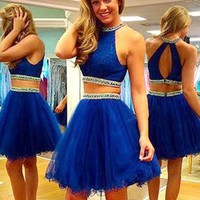 New Two Pieces Tulle Beaded Sequined Short Prom Dress Sexy Backless Royal Blue Short Graduation Dress Cheap Short Cocktail Dress