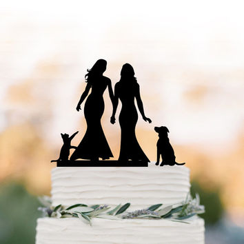 Lesbian Wedding Cake topper with dog. same sex wedding cake topper with cat, couple silhouette, funny wedding cake topper, mrs and mrs