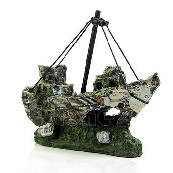 Wreck Sunk Ship Aquarium Ornament Sailing Boat Destroyer Fish Tank Cave Decor
