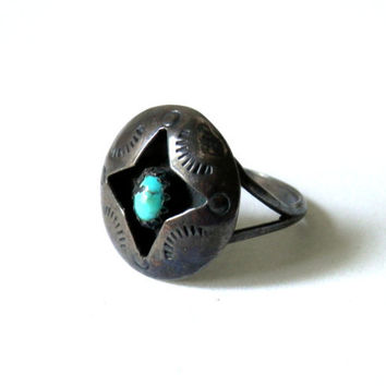 Old Pawn Navajo Sterling and Turquoise Ring