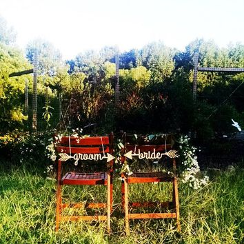 Bride Groom Wedding Reception Chair Sign