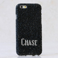 Jet Black Crystals Personalized Name & Initials Design (style PN_1133)