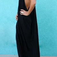 Black Open Back Cami Maxi Dress