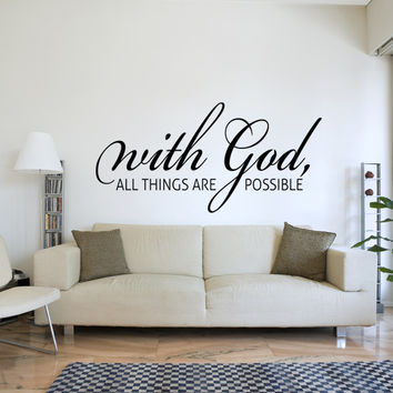 With god all things are possible religious wall decal quote