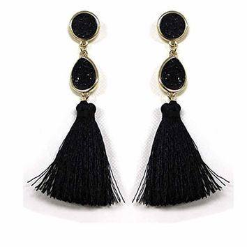 Stone tassel drop earring