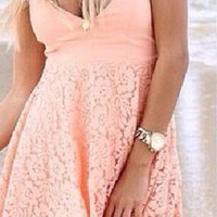 Pink Lace V Neck Strapless Highwaist A-Line Mini Pleated Dress