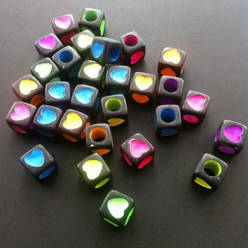 Black and Pastel Heart Beads 6mm x 6mm 25 Pcs