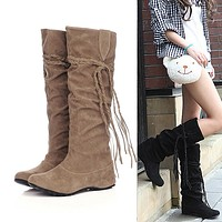 Platforms knee High Tessals Boots Motorcycle Shoes