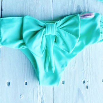Bow Tie Bikini Bottoms  in Seafoam