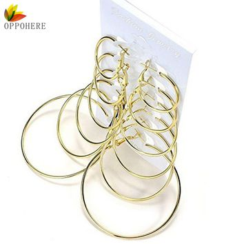 OPPOHERE 6 Pair/set Vintage Gold Color Big Circle Hoop Earrings for Women Steampunk Ear Clip Party Jewelry Accessories Gift