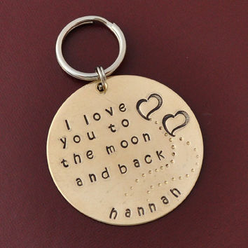 GIFT Key chain I love you to the moon and back by myjewelrystory
