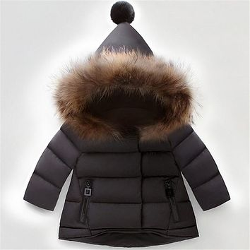 New Girls Winter Jackets Kids Hooded Coats Thick Children's Warm Parkas Baby Brand clothes High quality Outdoor For 1-7Y Kids
