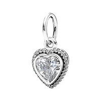 Women's PANDORA 'Sparkling Love' Heart Dangle Charm - Silver/ Clear