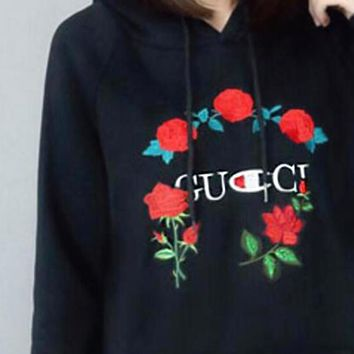 One-nice™ GUCCI : Champion flower rose print sweater black hoodie pullover black Large size