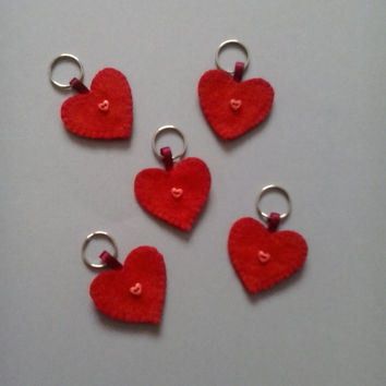 Hand sewn heart shaped felt dog collar tags