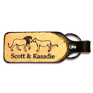 Lion & Lioness Couple Personalized Leather Engraved Keychain