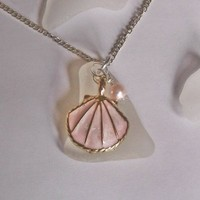 Sea Glass Necklace with Pink Enamel Shell