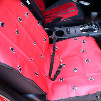 "Paw Print Waterproof Solid Color Single Seat Dog Car Seat Cover (21""""Wx41""""L)"