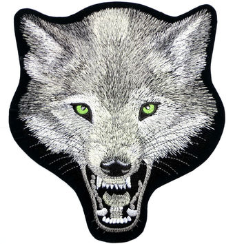 "WOLF Lone Biker Rider Big Embroidered Back Patch 10.5""/26.6cm"