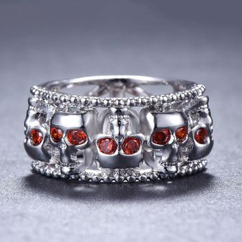 Bamos Male Female Gothic Skull Ring Vintage Red CZ Stone Engagement Rings Wedding Bands For Men Women Punk Jewelry 2018 New
