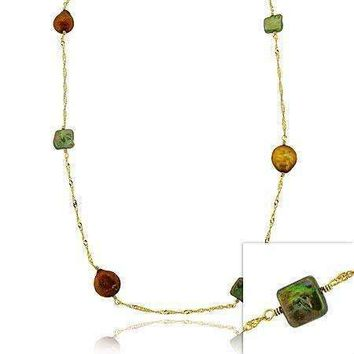 18K Gold over Sterling Silver Freshwater Cultured Green & Champagne Coin Pearl Chain Necklace