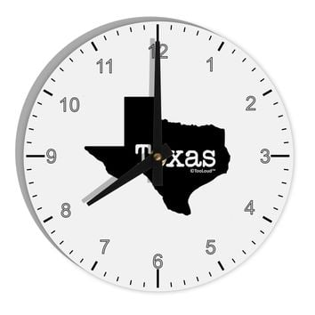 """Texas - United States Shape 8"""" Round Wall Clock with Numbers by TooLoud"""