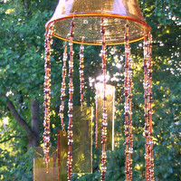 "Beaded and Stained Glass Art Wind Chime Brown Candle Holder Vase 23"" in Length"