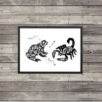 Frog and the Scorpion fable quote | it is my nature | custom color available | Typography | Silhouette |that is what scorpions do