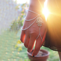 Lucky Hand of Fatima Tassel Chain Bracelet + Gift Box