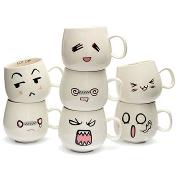 New Arrival Mug Fun Lovely Cute White Pottery Ceramic Cup Emotional Face Mug Tea Coffee Milk Cup With Handgrip 300ml