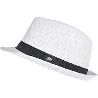 River Island Boys white woven trilby hat
