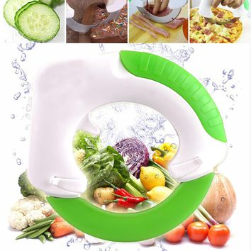 Stainless Steel Round Knife Vegetable Chooper Anit-slip Handle Fruit Vegetable Cutter Slicer Pizza Ring Wheel Knife
