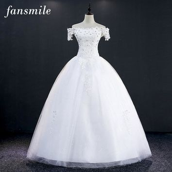 Fansmile Free Shipping Short Sleeve Lace Up Vintage Wedding Dress 2016 Plus Size Bridal Ball Gown Vestidos Noiva Real Photo