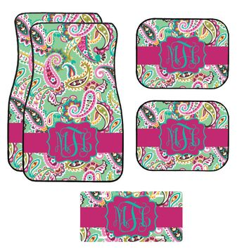 Mint Floral Paisley Car Mat /Plate & Frame / Seat belt cover / Key Chain / Car Coaster / Car Accessory Gift  Set