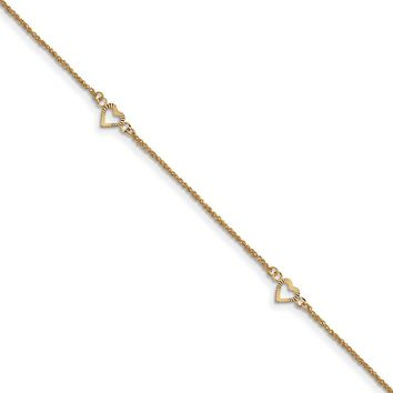 14kt Yellow Gold 9 Inch Hollow Textured Heart Charm Ankle Bracelet