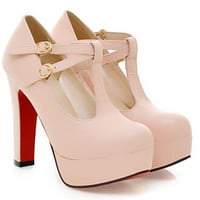 Nude Platform Thick Heel Round Toe High Heel Ol Shoes For Womens Ankle Strap Chunky Platform Pumps Alternative Measures